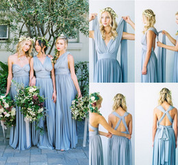 China 2019 New Dusty Blue Convertible Bridesmaid Dresses Cheap Eight Ways To Wear Pleated Country Style Flowing Beach Wedding Guest Party Gowns supplier flowing dresses train suppliers