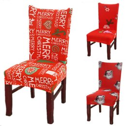 Wholesale Christmas Chair covers Home Dining flower printing Chair Cover Removable Santa Claus Xmas Slipcovers Seat Covers Table Party Decor Ornaments