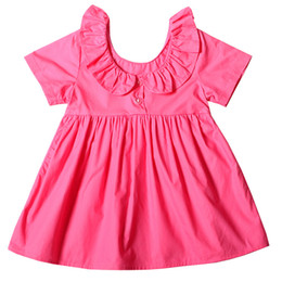Candies dresses girls online shopping - INS Baby girls Lotus leaf collar dress summer Children short Sleeve Candy colors princess dress Boutique Kids Clothing colors C4354