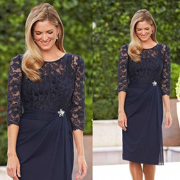 Champagne Mother Brides Knee Length Suits NZ - Hot Selling Knee Length Navy Blue Lace 3 4 Sleeves Mother of the Bride Dresses In Stock with Rhinestone Waist