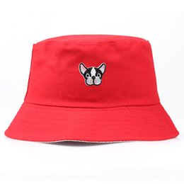 f90cae1cdd2 Dogs Hats UK - Bpckaace Hot sale Women s cap cute dog embroidered Bucket  Hats cotton outdoor