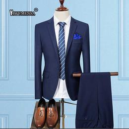 $enCountryForm.capitalKeyWord NZ - 2018 Custom Made Navy Blue Suits For Men Slim Fit Groomsmen Wedding Tuxedos Best Men Suits Blazer With Pants (Jacket+Pants+Vest)