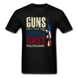 men t shirt gun Australia - Vintage T Shirt Men Black T Shirt Gun Rust And Politicians Tshirt Letter Print Cotton Clothes Hip Hop Tops High Street Tees