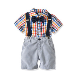 $enCountryForm.capitalKeyWord Canada - Baby Boys Clothing Sets Summer Short Sleeve Lattice T-Shirt+Denim Shorts Clothes Sets Children Boy Formal Suit Fashion Outfits