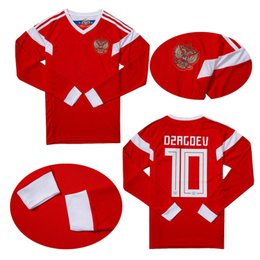 4325a055b40 Thai Quality Long sleeve 2018 world cup Russia Soccer Jerseys Russian Home  red Football uniform  10 DZAGOEV 11 SMOLOV Soccer Shirts 17 18