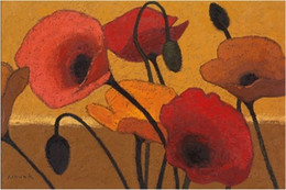 Famous Canvas Prints Australia - Famous Abstract Flower Art Poppy Curry III by Shirley Novak Handpainted & HD Print Oil Painting On Canvas,Multi Sizes  Frame Options l122