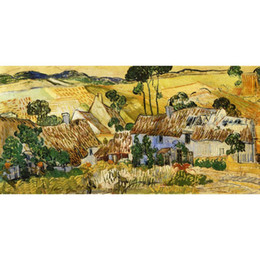 $enCountryForm.capitalKeyWord UK - Hand painted Landscapes art Thatched Houses against a Hill Vincent Van Gogh oil paintings for Home decor