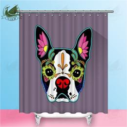 Vixm Home Mexican Folk Art Dog Head Fabric Shower Curtain Cute Cartoon Santa Claus Bath For Bathroom With Hook Rings 72 X