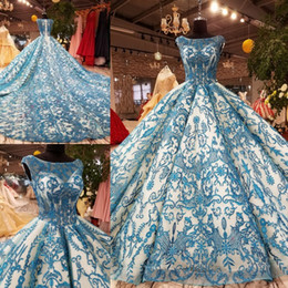Photo Beads Canada - Sparkle Blue Lace Scoop Beads Ball Gown Wedding Dresses Bridal Dresses Events Dresses Custom Size 6 8 10 12 W307085