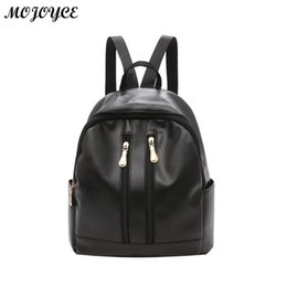 Women Backpack PU Leather Girls Preppy Style Shoulder Bags Zipper Casual  Vertical Square Backpacks Black Color Mochila femenina f12781b45556c