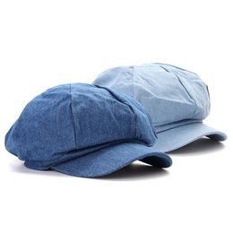 Unisex Washed Denim Octagonal Cap Newsboy Beret Hat For Women Sun Hat Ladies  Summer Spring Retro Flat Caps Driving Hats Berets 143ea37caa07