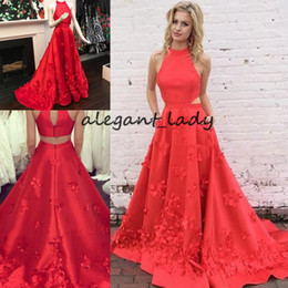 watermelon dress piece NZ - Charming Watermelon 3D Floral Prom Dresses 2018 High Neck Cutaway Sides Satin Backless butterfly Red Long evening Homecoming Party Dresses