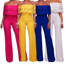 752692dfbda 8 Photos Sexy nylon jumpSuitS For Sale - Summer Women Sexy Jumpsuit Off  Shoulder Backless Lace Patchwork Casual