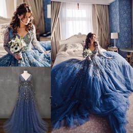 $enCountryForm.capitalKeyWord Australia - Beautiful Blue A Line Embroidery Country Wedding Dresses Jewel Long Sleeve Organza Bridal Gowns Church 2018 robe de mariée Gothic Casamento