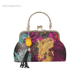 $enCountryForm.capitalKeyWord Canada - ARCHIE&RITA Celebrity Bag Vintage Women Fashion Leather Graffiti Bag Tassel Ladies Simple Rose Evening Bags Handbag Chain Party