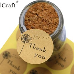 Thanks Stickers Canada - stickers thanks 1200pcs Dandelion Thank you Kraft Seal Sticker Gift Seal Label Sticker For Party Favor Gift Bag Candy Box Decor