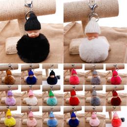 BaBy Boy keychains online shopping - Fashion Sleeping Baby Doll Keychain Pompom Rabbit Fur Ball Car Keyring Baby Toy Key Chain Women Bag Pendant Key Holder Free DHL G246Q