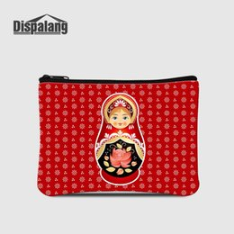 doll wallet zipper NZ - Russia Mascot Matryoshka Doll Printing Coin Purses For Women Mini Zipper Wallet For Shopping Children Cartoon Change Money Bags