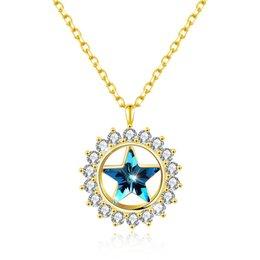 Venta al por mayor de Collar de plata esterlina 925 2018 Nuevo estilo Colgante en forma de corazón Elegante de alta calidad Collar de zircón plateado femenino Cristal de Swarovski