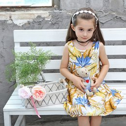 Wholesale Baby Girls Dress Pure Cotton Summer Children Clothing Princess European American Style Version Banana leaf Print Big Girls Dress