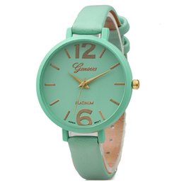 thin leather watch for women NZ - Fashion Women geneva leather watch casual thin bands watches candy color bracelet watch ladies quartz dress simple wrist watches for women