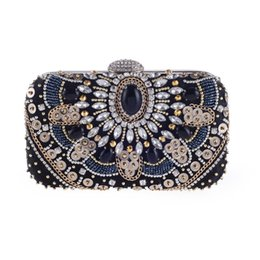 Discount handmade vintage clutch bags - Handmade Women Beaded Evening Clutch Bag Hard Case Vintage Wedding Party Cocktail Beading Handbag Purse Bridal Clutches