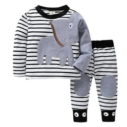 Organic Baby T Shirts Wholesale NZ - Newborn Baby Clothes Elephant Striped Print T-Shirt Tops Set Casual Outfits Winter Baby Boys Girls Clothes