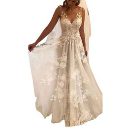 $enCountryForm.capitalKeyWord UK - Beach Vestido De Noiva 2019 Wedding Dresses A-line Lace Wedding Dress Backless Dubai Arabic Boho Wedding Gown Bridal Dresses robe de mariee