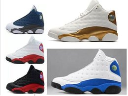 Gray Basketball Shoes Canada - 13s Kids White gray blue cat Hyper Royal olive Wheat GS Bordeaux DMP Chicago men women Kids basketball shoes 13s sports Sneaker Shoes 36-47