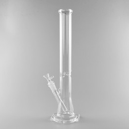 water pipe straight tube Canada - Hi Si Glass Straight Tube Water Pipe Hexagon Base Bong Mini Geyser Dab Rig 14 inches Tall Water Pipe
