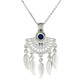 AromAtherApy fAns online shopping - Silver Fan Shapes Filigree Bohemian Feather Essential Oils Diffuser Locket Aromatherapy Beads Pearl Cage Necklace Pendant Boutique gift