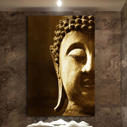 Painting Faces Australia - 1 Pcs Ancient Buddha Face Modern Home Decor Framework HD Canvas Oil Painting Living Room Wall Art Posters No Framed
