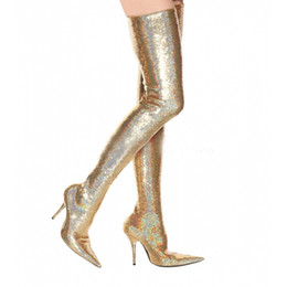 Safety high heelS online shopping - Latest Golden Silver Bling Sequined Women Pointed Toe High Heel Boots Sexy Over Knee Boots Sexy Thigh High Party Boots Big Size