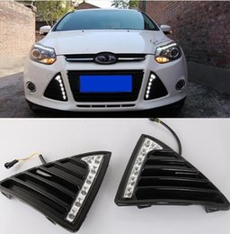 Fog lights Ford Focus drl online shopping - For Ford Focus MK3 DRL Daytime Running Lights V LED Daylight Fog lamp waterproof with dimming style Relay