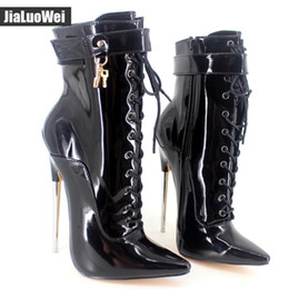552303e4a9e 2018 New Arrive 18CM Black Man High Heeled Metal Heel Half Boots Lace-up  zipper Lace-up Pointed Toe Sexy Fetish Women Ankle Short Boots