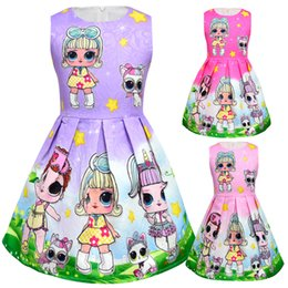 Chinese  3 Colors Baby Girls Dresses Girl Cartoon Doll Floral Printed Dresses Children's Sleeveless Princess Dresses Baby Clothing manufacturers