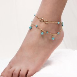 stainless steel boy girl pendant 2019 - Multilayers Turquoise Pendant Alloy Ankle Bracelets Silver Gold Chain Foot Stainless Steel Jewelry Love Bracelets Party