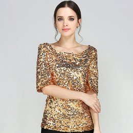 d0ff2c45822 New Half Slveeve Slash Neck Sequins Mesh Sexy Slim T-shirt Women Plus Size  S-5XL Tee Shirts Silver Gold Black Casual Tops