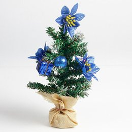 xmas tree decorations flowers 2019 - Mini Christmas Trees Decoration With Supplies False Flower Gift Box Supplies Festival Home Party Ornaments For Xmas 25cm