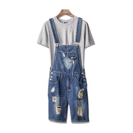 4c65b64458a MORUANCLE Men Ripped Short Suspender Jeans Pants Distressed Denim Bib  Overalls Shorts Jumpsuit Romper For Man Plus Size S-XL