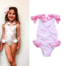$enCountryForm.capitalKeyWord Canada - Baby girl One-Pieces Swimwear Flamingo Printed Kids Summer beach cloth with Bow Toddler Swimsuit 5size for 1-5T