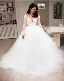 dress design chart NZ - Long Sleeve Princess Lace Wedding Dresses 2019 New Design Custom Court Train Scoop Neckline Ruffled Ball Gown Sheer Tulle Wedding Gowns W062