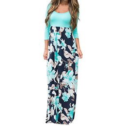 2648cfef8bcb Women s Floral Printed Boho Dress Three Quarter Sleeve Long Maxi Dress O- Neck Loose Casual Dress Tunic  L