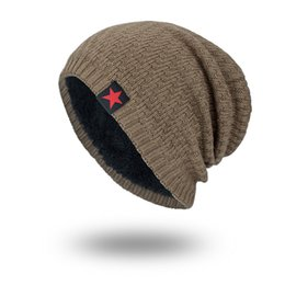 c31d5661dc2e7 Knitted Wool Hat Cotton Men Fashion Red Five Pointed Star Cap Autumn Winter  Warm Beanies Hip Hop 10zm hh