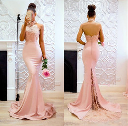 Halter HigH neck satin dress online shopping - Mermaid Formal Evening Dresses Jewel Halter Neck Backless Lace Appliques Party Prom Gowns vestidos de noche