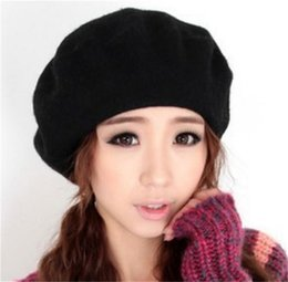 b6b7590b08d Discount men beret white - New Fashion Solid Color Warm Wool Winter Women  Girl Beret French