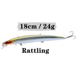 Quality Fishing Lures NZ - 1PCS 18cm 24g Minnow Fishing Lure Artificial Make Quality Porfessional Bass Crankbait Wobbler Fishing Tackle 10 Colors Available Y18100906