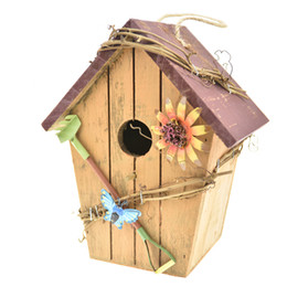 decor birds UK - Wood Bird House, Retro Arts And Crafts Country Cottages Bird House Woodland Cabin Birdhouse Outdoor Decor And Interior wooden house Decor