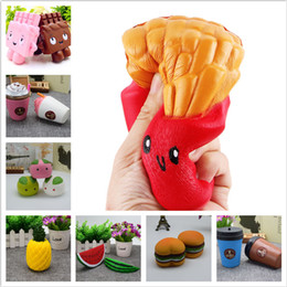 Wholesale Baby Decompression Toys French Fries Squishy Slow Rising Soft Fruit Ice Cream Coffee Cup Scented Kawaii Bread Relieve Anti Stress Toys