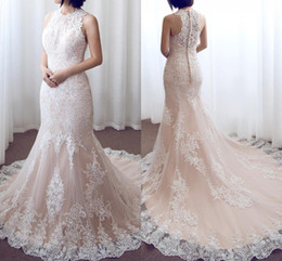 $enCountryForm.capitalKeyWord Australia - Full Lace 2018 Vintage Mermaid Wedding Dresses with Button Back Jewel Neck Applique Court Train Bridal Gowns Wedding Dress Vestidos De Noiva